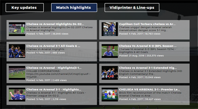 Previous match highlights of Arsenal and Chelsea